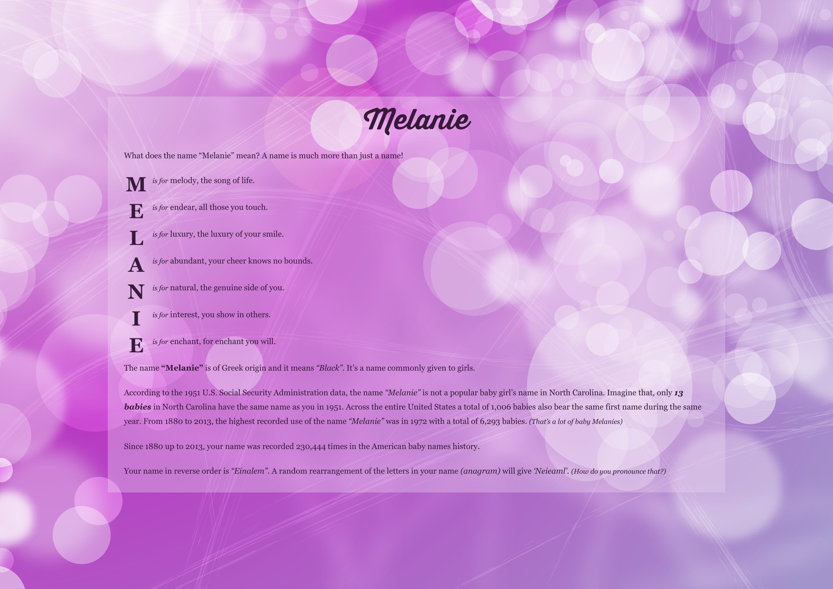 The meaning of name melanie using sweet sixteen from the project pack
