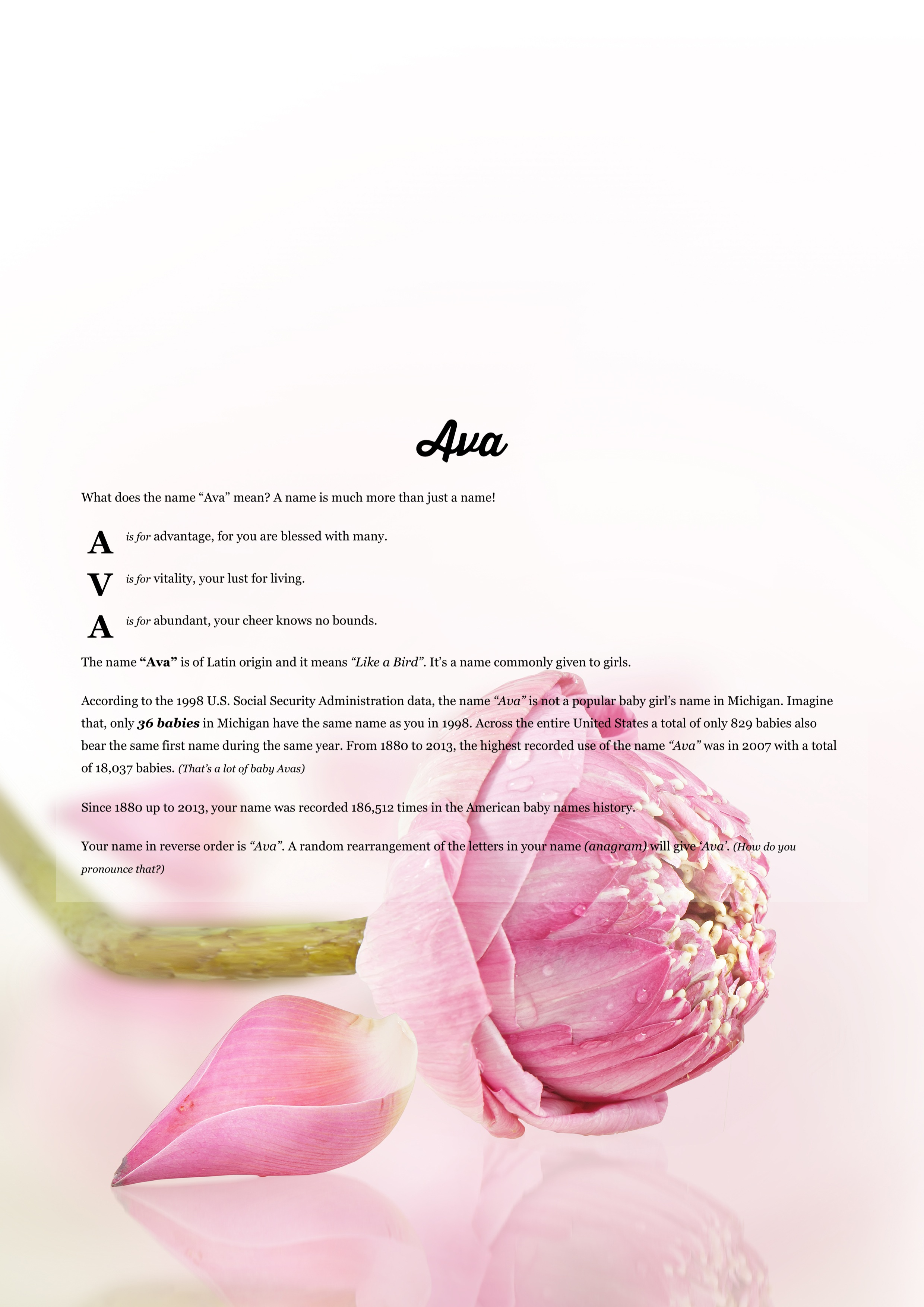 Background images with your name the meaning of name ava using pink lotus from the project pack flowers izmirmasajfo