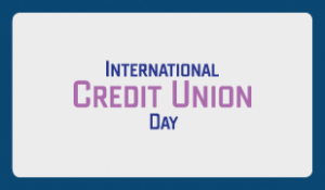 International Credit Union Day. Grey background with a blue border with the words international day in blue and credit union in purple