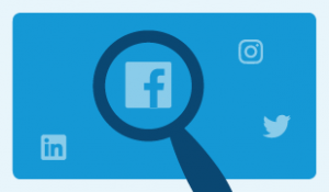 Blue background with large magnifying glass looking over the Facebook logo