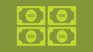 Illustration of four light green one hundred dollar bills on a green background.