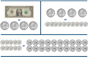 Currency matching game with dollar bills and coins