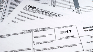 Stack of 1040 tax forms