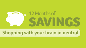 12 months of savings - Shopping with your brain in neutral text with piggy banks