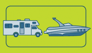 Illustrated boat and RV