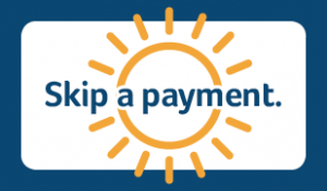 Skip a payment with white background and yellow sun