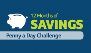 12 months of savings - penny a day challenge text with piggy banks