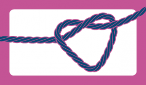 blue knot being tied in a heart
