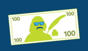 Cartoon $100 bill with sunglasses and mustache on Ben Franklin