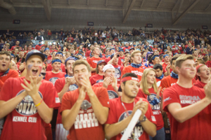 Gonzaga fans all in red at a Gonzaga basketball game