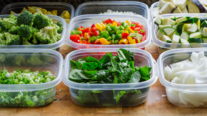 Healthy food prep on a budget with plenty of vegetables and planning