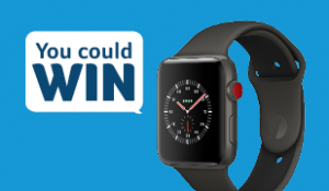 Picture of a black Apple Watch on a light blue background with text box