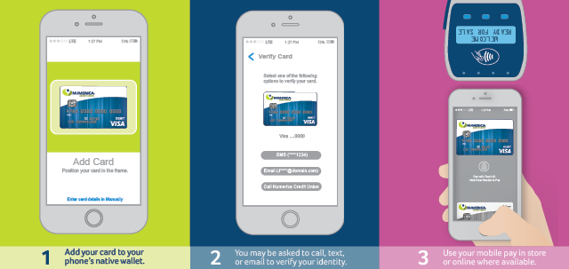Side by side usage of mobile pay application in vector of a smart phone on lime green background, navy blue background and using the digital wallet and a point of sale on pink background