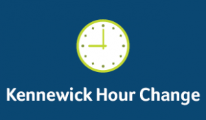Lime green clock on dark blue background with text
