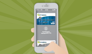 Vector image of a hand holding a phone with thumb over the home button and phone displaying Numerica's mobile pay digital wallet