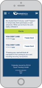 Screen shot of the Numerica Mobile app featuring Card Freeze text