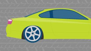 Green car with blue windows on a grey tire tread background