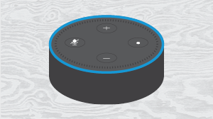 Alexa dot on a light grey wood grain background