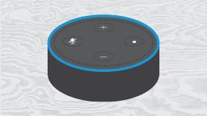 Alexa dot on a light grey wood grain background