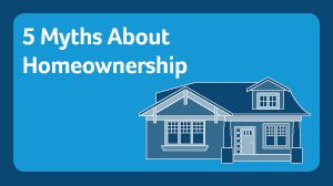 5 myths about homeownership. Two story house in different shades of blue with 3 windows and front porch columns.