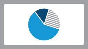 White background with a grey border with an illustration of a blue and grey pie graph cut off into different parts.