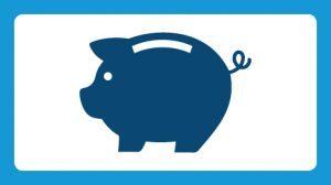 Illustrated blue piggy bank