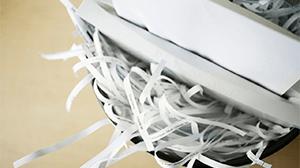 Paper getting shredded
