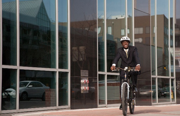 Business Man Biking To Work 01