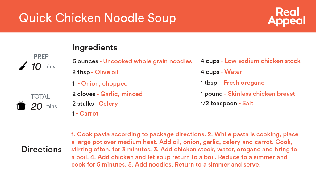 Real Appeal Quick Chicken Noodle Soup