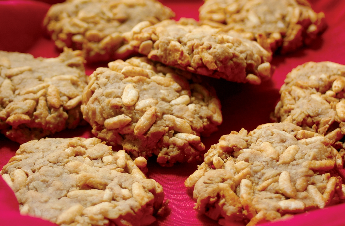 Peanut Butter Puffed Rice Cookies