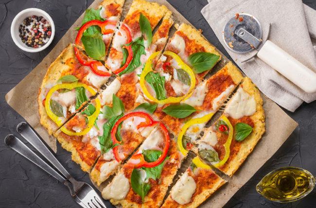 Rainbow Pizza Cauliflower Crust