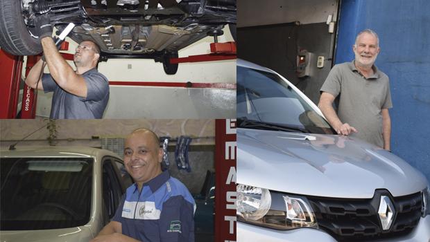 MECÂNICOS: Sandro dos Santos (esq. acima), Edson Roberto de Ávila (esq. abaixo) e Alberto Martinucci Jr (dir.)