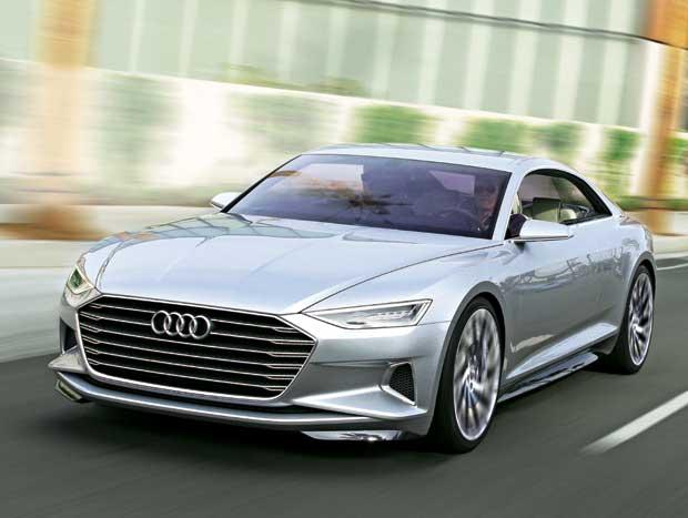 A bem dimensionada grade e os faróis com tecnologia laser são os destaques na dianteira do carro-conceito