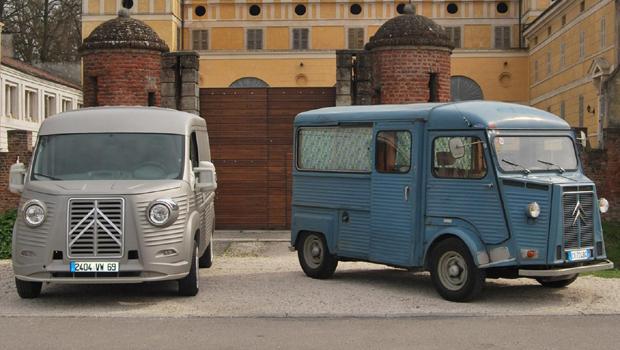 A Citroën HY (à direita) foi feita entre 1947 e 1981