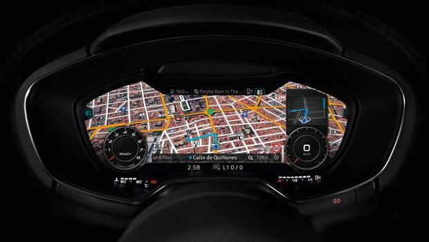 Painel digital do TT na função de navegação