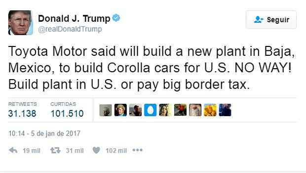 Reprodução do tuíte em que Trump ameaça a Toyota