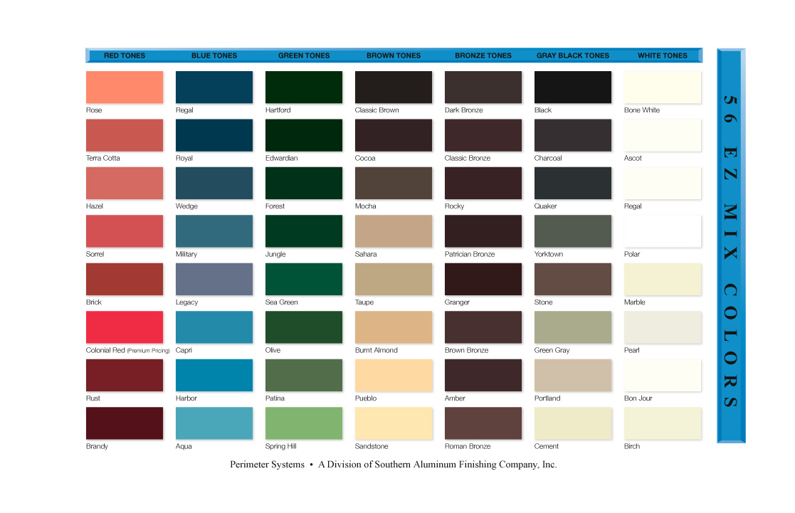 Coating appearance color variation saf southern aluminum saf 56 easy mix color chart geenschuldenfo Image collections