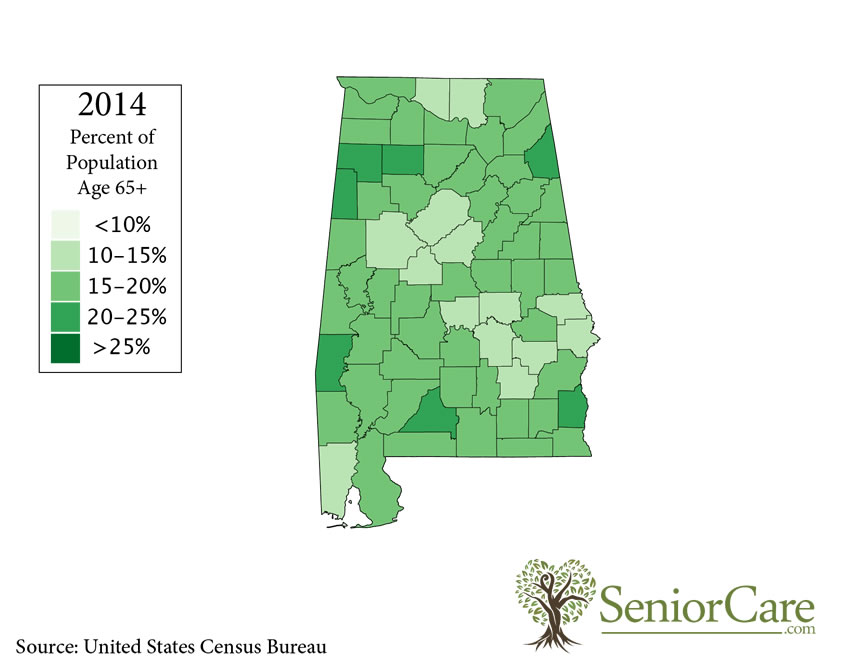 Alabama 65+ Population by County