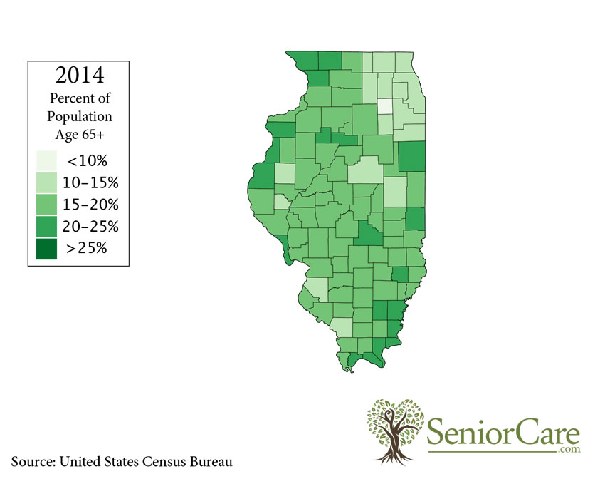 Illinois 65+ Population by County