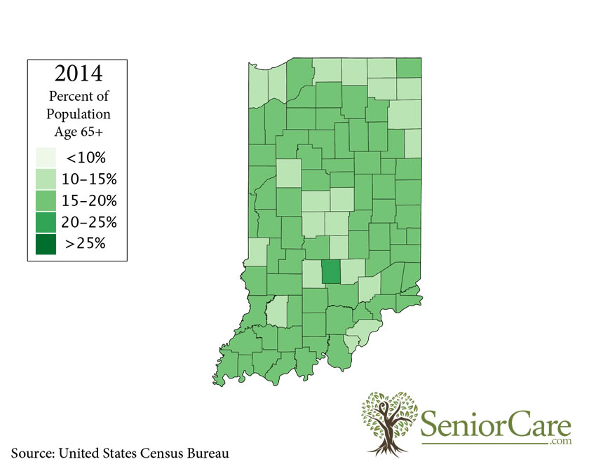 Indiana 65+ Population by County