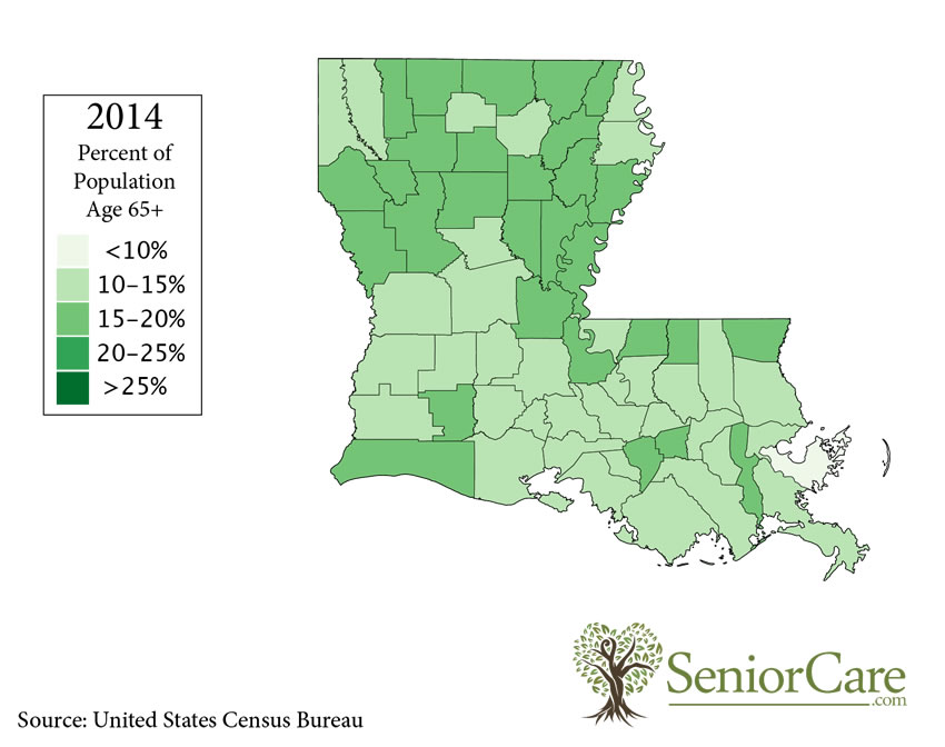 Louisiana 65+ Population by County