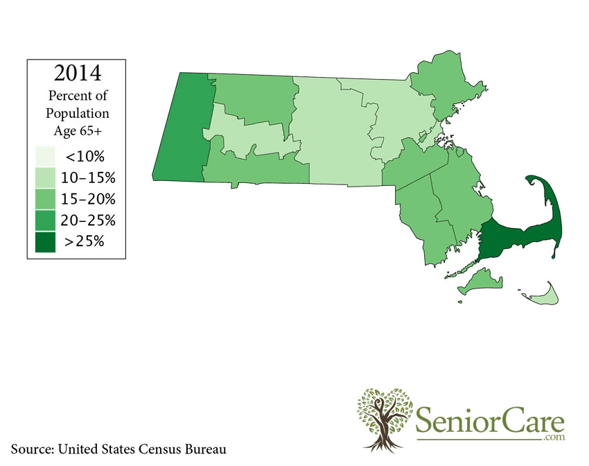 Massachusetts 65+ Population by County