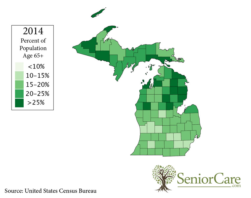 Michigan 65+ Population by County