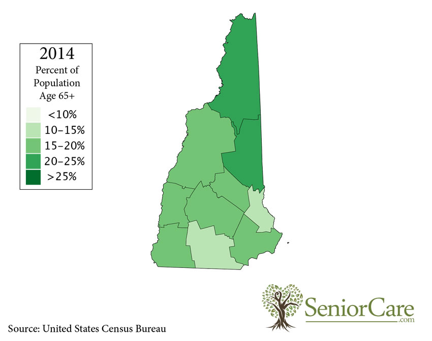 New Hampshire 65+ Population by County