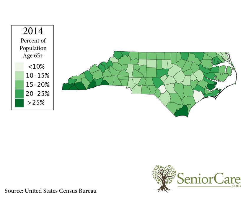 North Carolina 65+ Population by County