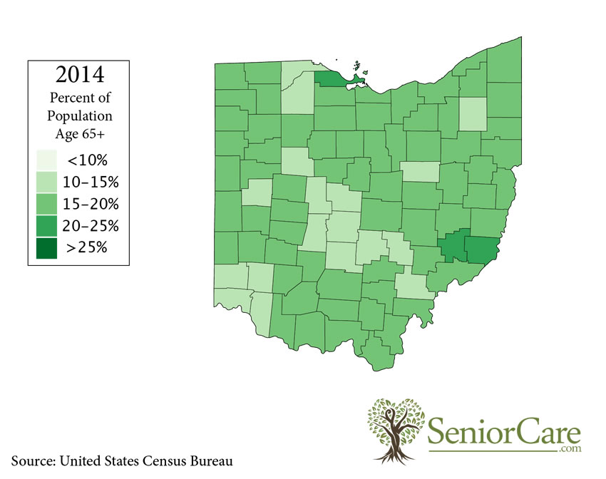 Ohio 65+ Population by County