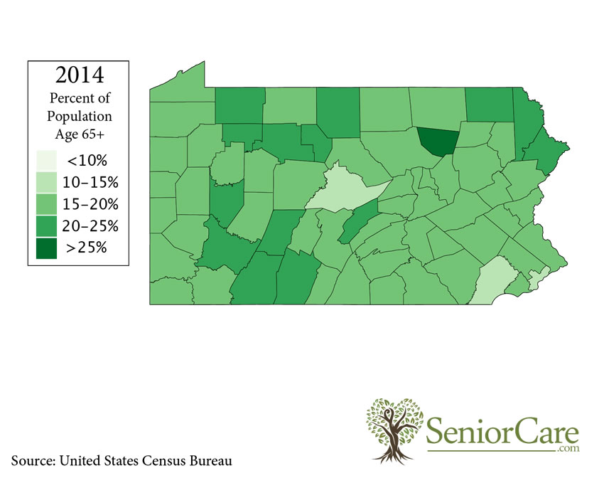 Pennsylvania 65+ Population by County