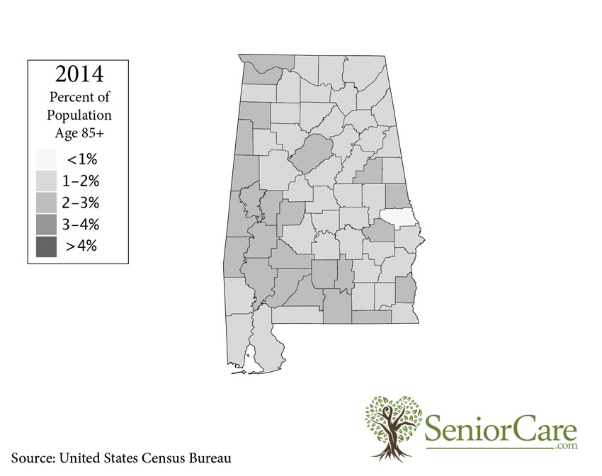 Alabama 85+ Population by County