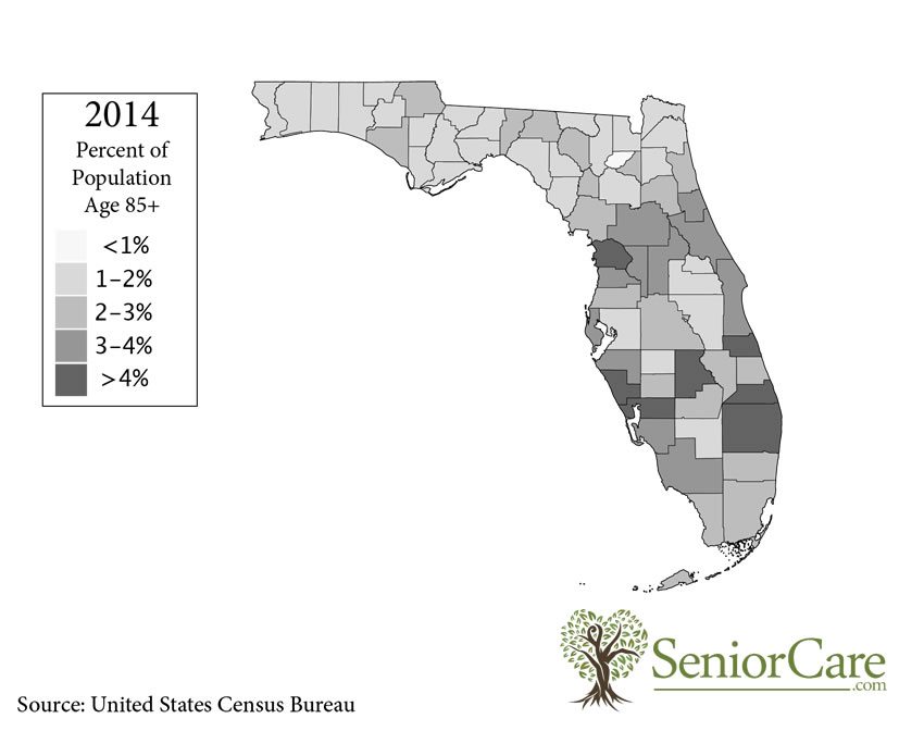 Florida 85+ Population by County