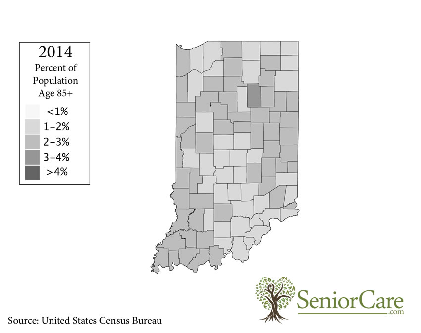 Indiana 85+ Population by County